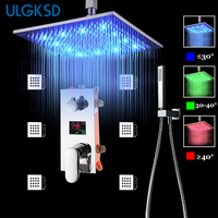 ULGKSD Rainfall LED Shower Faucet Ceiling Mount Square 20 Inch Shower Head 3 ways Digital Mixers W/ Handshower For Bathroom