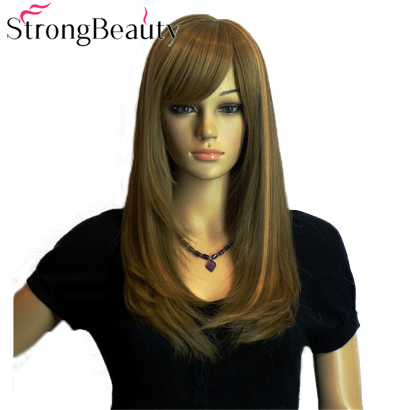 StrongBeauty Girl Cosplay Blonde Brown Wig Long Straight Oblique Bangs Full Hair Wigs