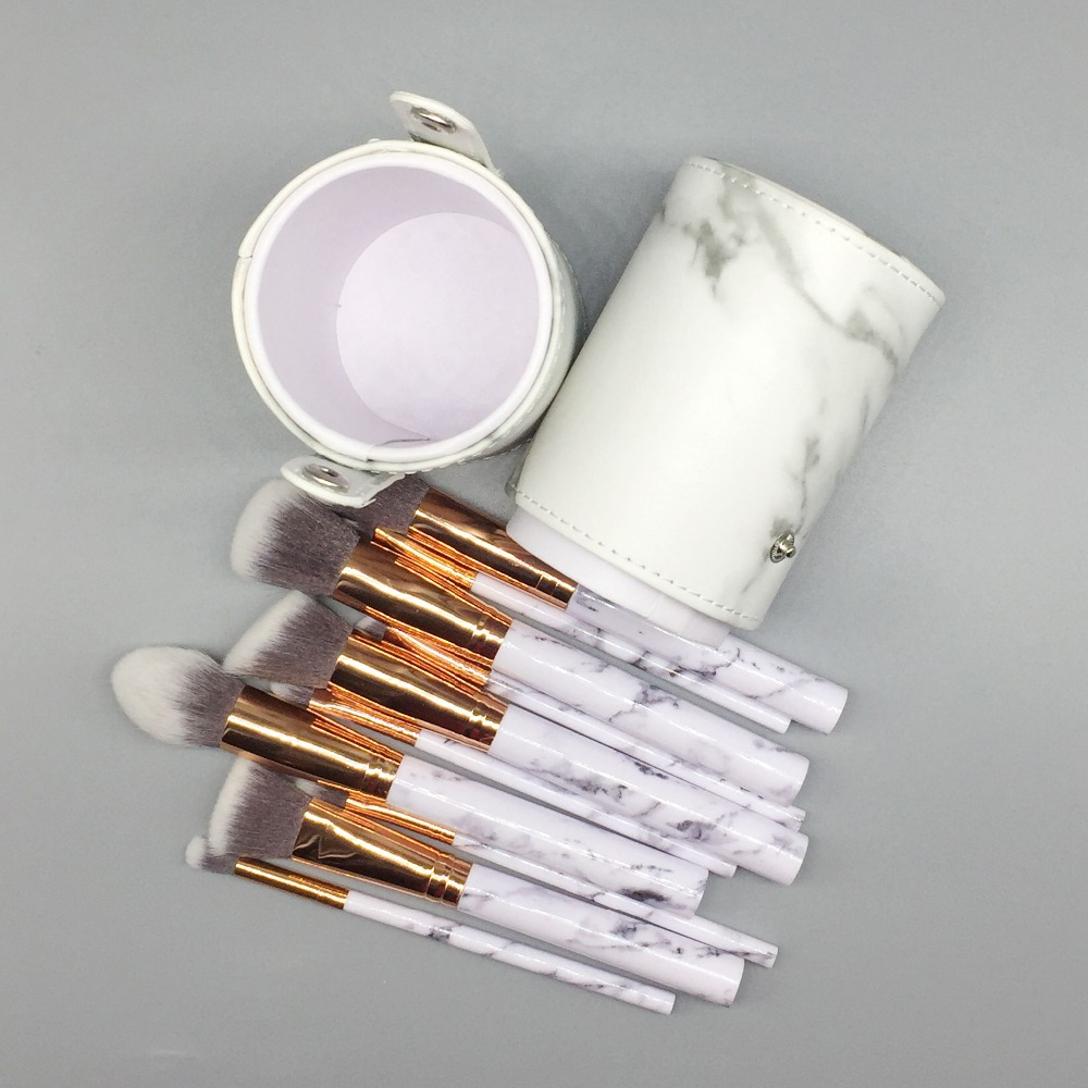 (2pcs Get Discount) Marble Brushes With Holder Foundation Powder Eyeshadow Blending Brush Marbling Texture Makeup Tool