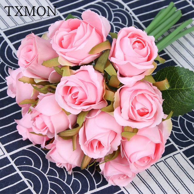 Korean 12 Heads Silk Artificial Mini Rose Flowers Bouquet Decorative Fake Flower For Wedding Decoration Home Party Garden Decor