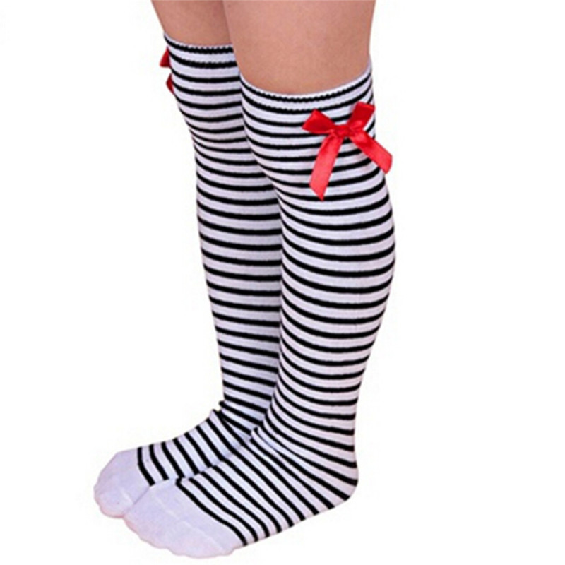 Kids Warm Winter Knee High Stockings Christmas Girls Striped Boot Bowknot Stocking White Black Gray Cotton Xmas Gifts Stocking