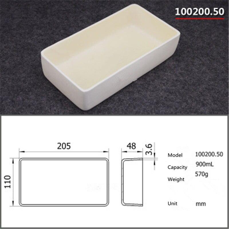 99.5% Square corundum crucible / 900ml 100200.50 / Temperature 1600 degrees / Sintered ceramic crucible