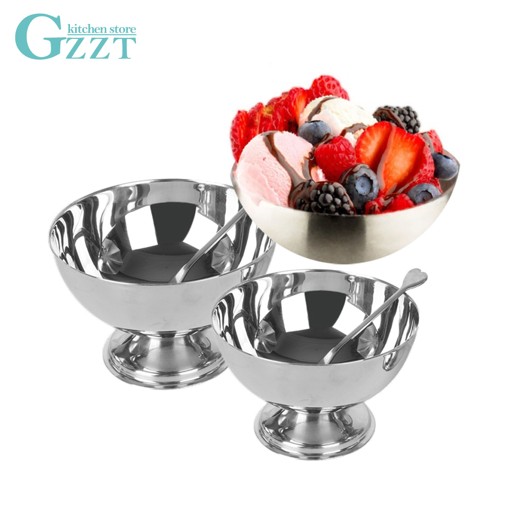 GZZT Stainless Steel Ice Cream Cup Dessert Fruit Salad Bowl With A  Fork 9cm/10cm