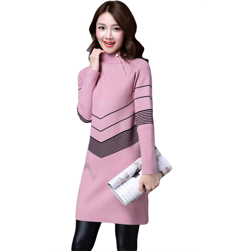 2018 Spring Autumn New High Collar Sweater Women Long Sleeves Loose Long Section Sweater Female Striped