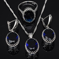 Clásico Forma de Huevo Azul Zirconia Cúbico Para Las Mujeres 925 Sistemas de La Joyería de Plata Colgante de Collar Pendientes Anillos Envío Libre JS058