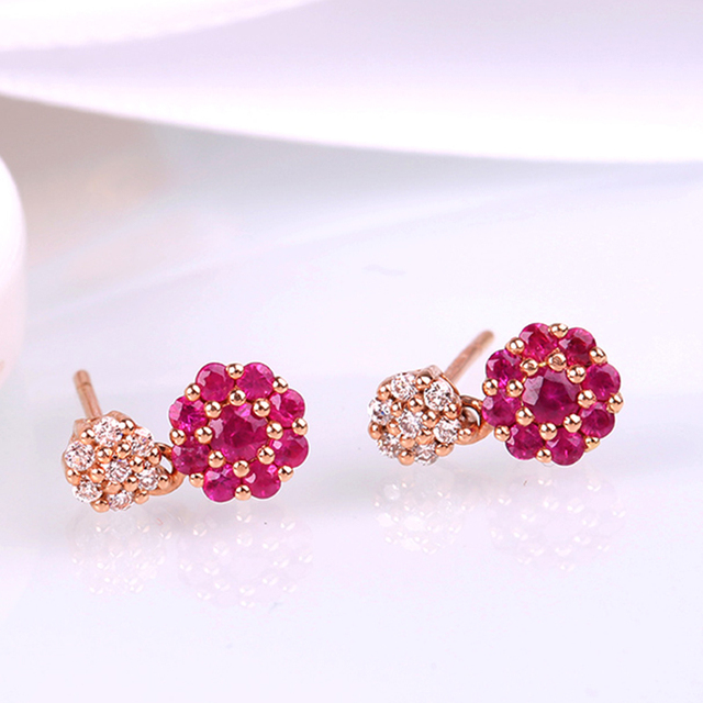 Robira Top Quality Clic Stud Earring Perfect 14k Rose Gold Natural Ruby Diamond Earrings For Women