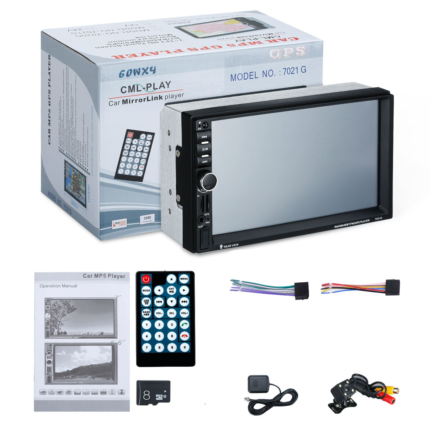7021G 2 Din Car MP4/MP5 Player 7inch Touch Screen With Radio