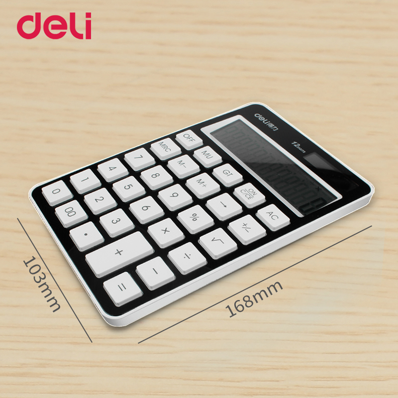 Deli quality fashion two power calculator for school kid office electronic accounting supply brand solar energy table calculator