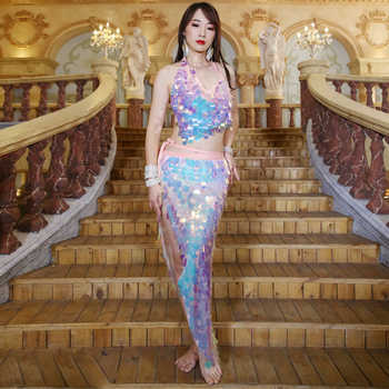 New Women Dance Wear Multicolor Squama Over-Skirt Sequins Hip Scarf Scaly Belly Dance Costume Set 2 Pieces Bra and Skirt