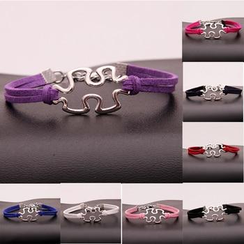 (1000 unids/lote) pulsera y brazalete de rompecabezas trenzado infinito, pulsera de cuerda envolvente con signo de rompecabezas, joyería para Concientización del autismo en 8 colores