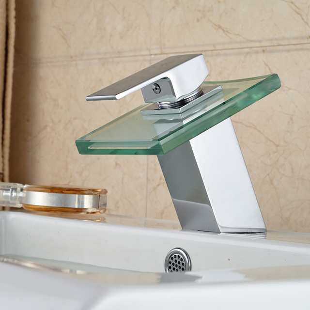 New Arrival Type Lavatory Faucet Waterfall Glass Spout Single ...