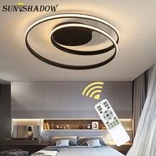 Минималистичный современный светодиодный потолочный светильник черно-белые кольца Led Люстра потолочная лампа для спальни гостиной столовой светильник