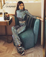 Elegant Trend Tops + Pants Sequins Women's Suits Winter Luxury Celebrity Women Sets