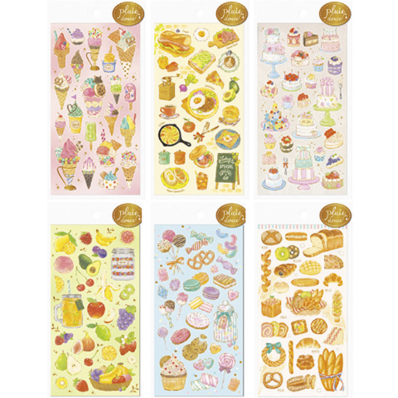 1 Sheet Kawaii Gilding Dessert Cake Snack Adhesive Stickers DIY Decoration Stickers Stationery Stickers Labels