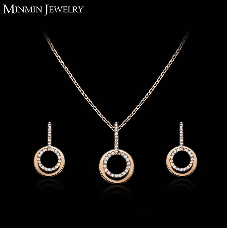 2015 New Design Double Round Bridal Jewelry Set 14k Gold