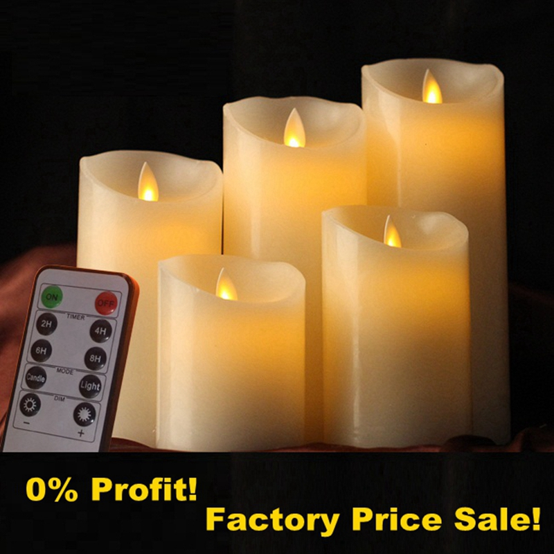 Moving Wick LED Candles with Remote Control Dancing Flame Wax Pillar Candle Candele Velas LED for