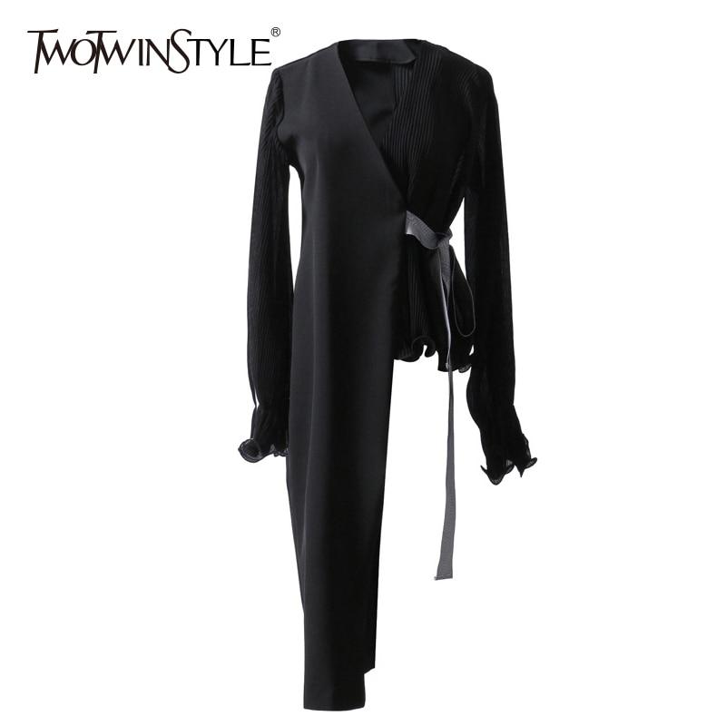 TWOTWINSTYLE Asymmetrical Blazer Female Chiffon Patchwork V Neck Lantern Sleeve Lace Up High Waist Coat Women 2020 Spring Thin