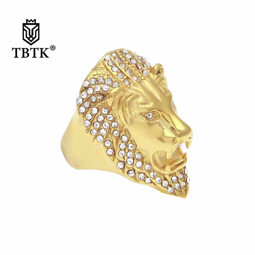 TBTK Roaring Lion Head Ring Gold Stainless Steel Metal Ring Micro-inlaid Sparkling Rhinestone Crystal Cocktail Ring Punk Man