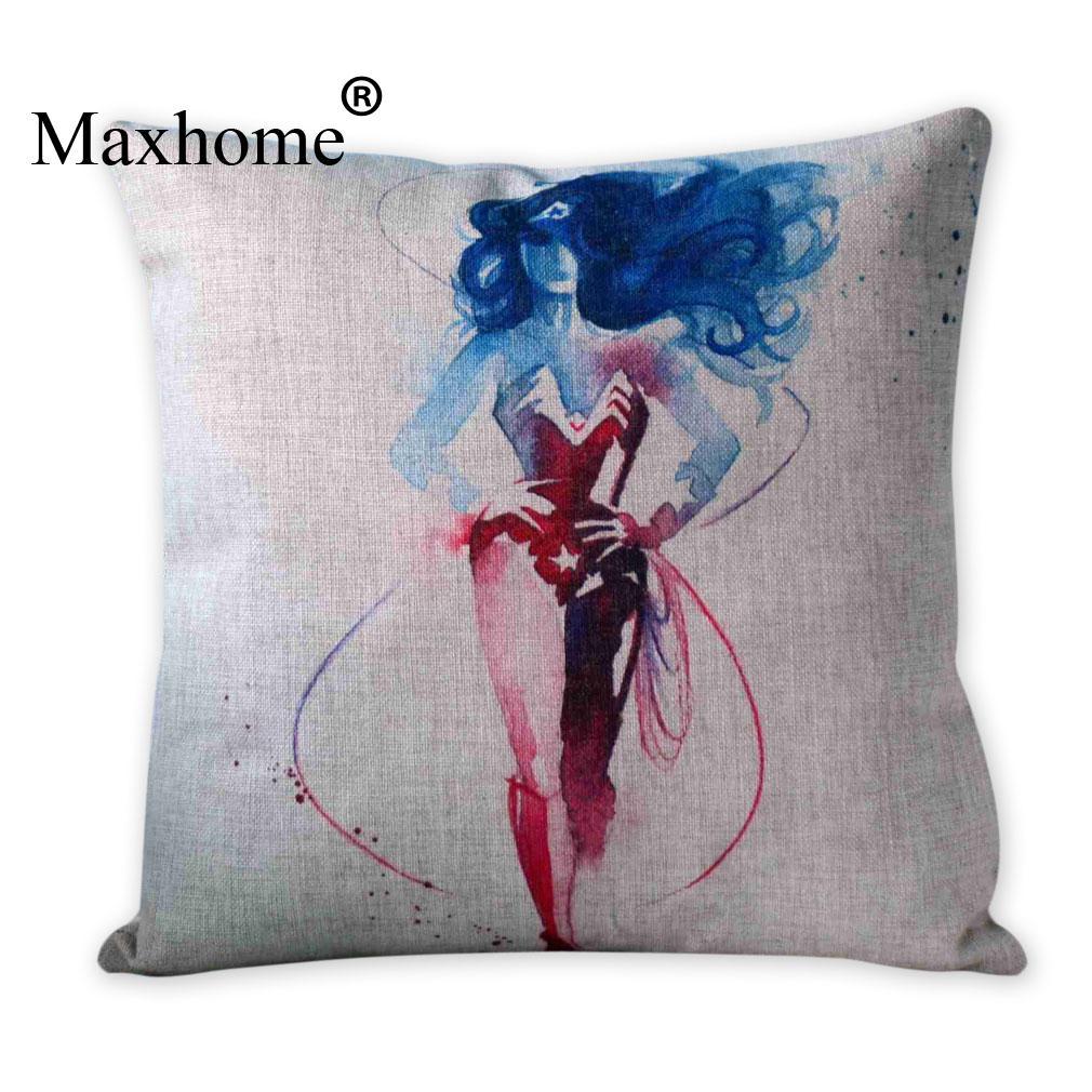 Watercolor Super Hero Wonderwoman Pillowcase Creative Linen Cushion Decorative Pillow Home Decor Sofa Throw Pillow Almofadas