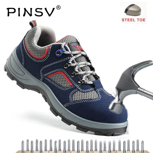 Plus rozmiar 35-47 buty robocze męskie obuwie ochronne ze stali Toe buty robocze skórzane na świeżym powietrzu Unisex buty robocze męskie PINSV 2018