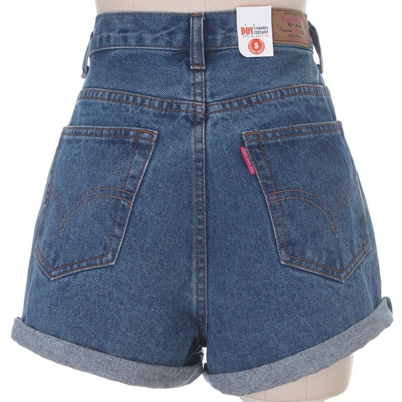 Online Shop women blue high waist loose denim shorts vintage ...