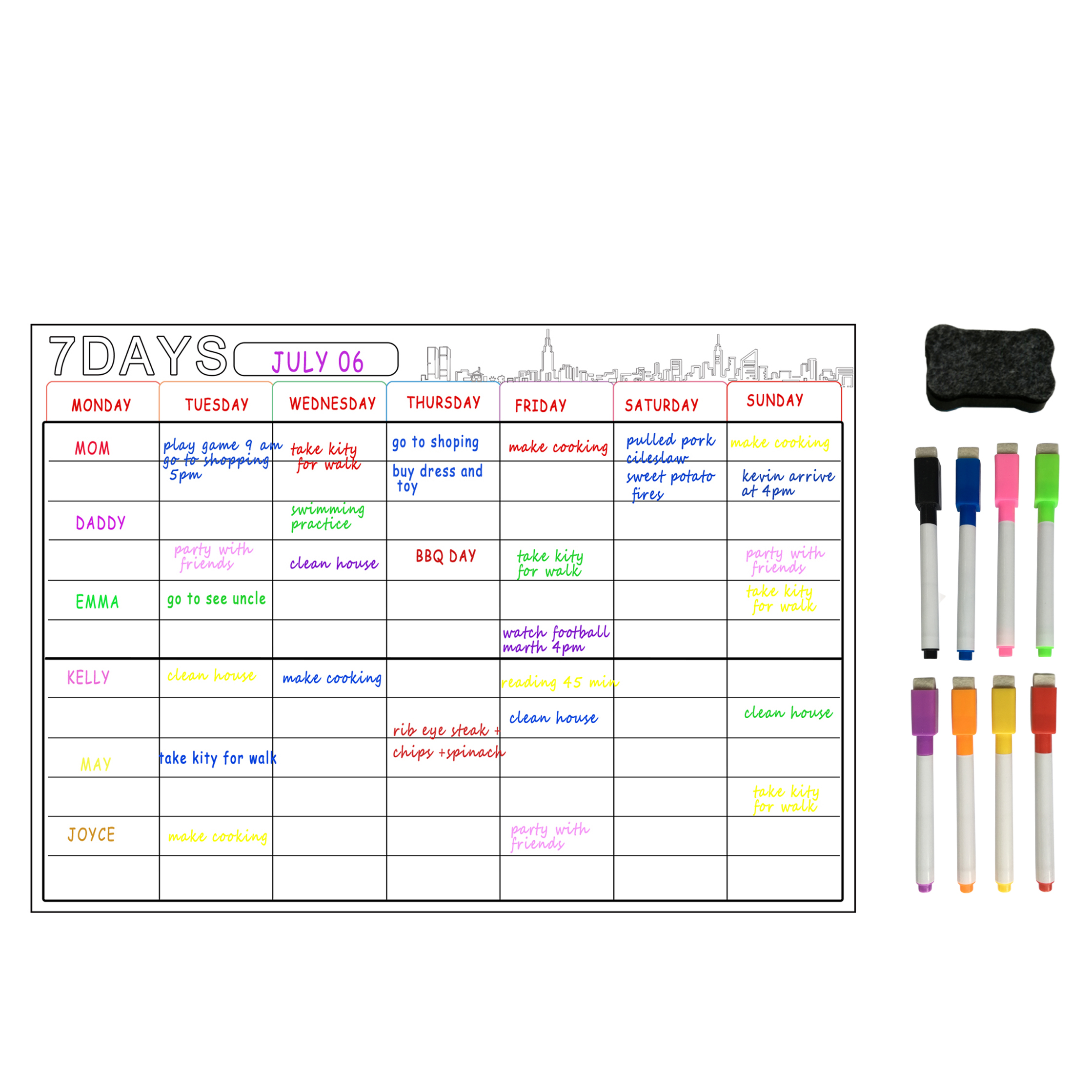 A3 Magnetic Whiteboard Dry Erase Calendar Set 16x12'' Whiteboard Weekly Planner For Refrigerator Fridge Kitchen Home