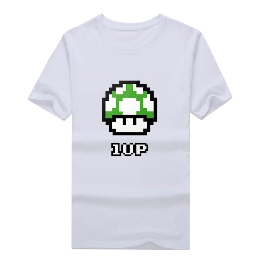 Green Mushroom Super Mario Bros 8 bit Video Game ower 1 up Nintendo Poster font b