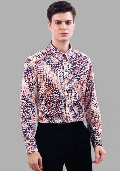 a0626e0a2616f4 Shirts Mens Real Silk Satin Floral Dress Shirt Business Long Sleeve Leisure Tops  Blouse
