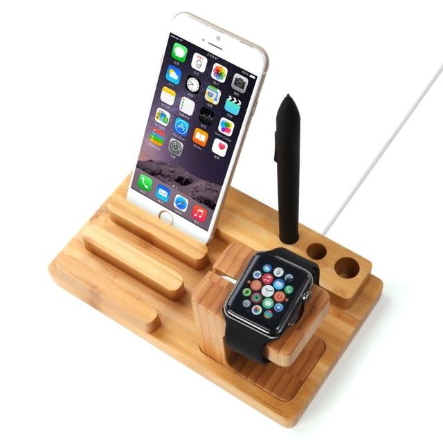 Original seenda 3-in-1 estación del muelle de madera de bambú para apple watch + pen holder soporte de la horquilla para el iphone samsung regalo de navidad