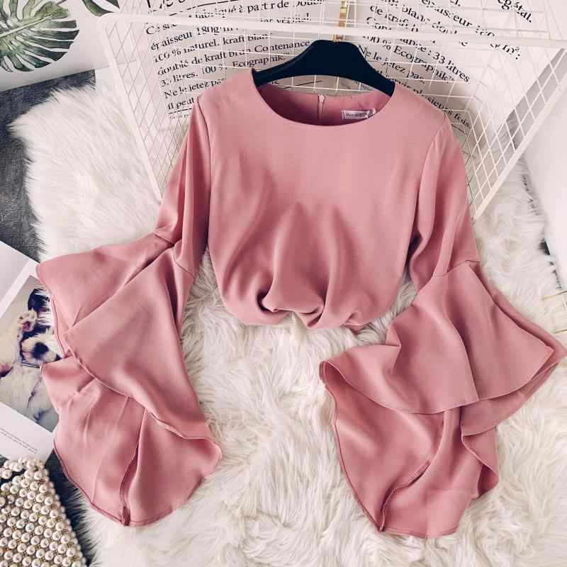 721a7875c72fec 2019 spring summer new women O-neck flare sleeve chiffon blouses shirt  female solid color