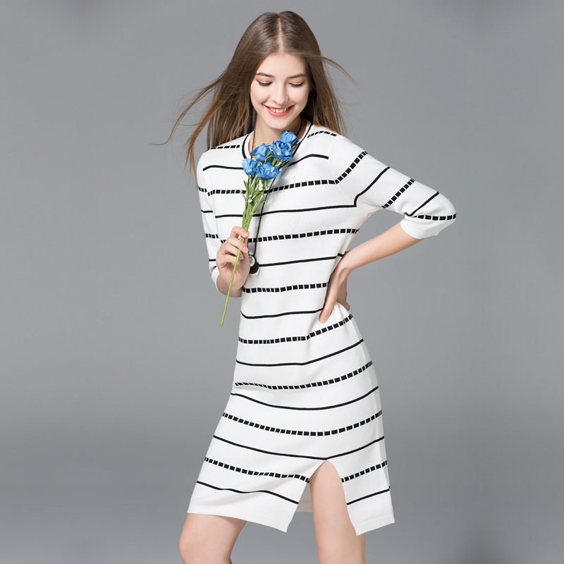 Europe New 2018 Spring Autumn Women's High Fashion O-Neck Three Quarter Split Striped Knitted Dress Female Elastic Sweater Dress 2018 new spring maternity dress europe