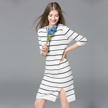 Europe New 2018 Spring Autumn Women's High Fashion O-Neck Three Quarter Split Striped Knitted Dress Female Elastic Sweater Dress