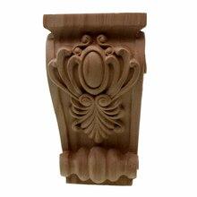 VZLX, coin en bois non peint sculpté, cadre dapplique de fond pour la maison, armoire de porte, artisanat, pieds de meubles