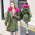 Зима Завышение Длинные Женщин Искусственного Меха Пальто Армия Зеленый Розовый Черный
