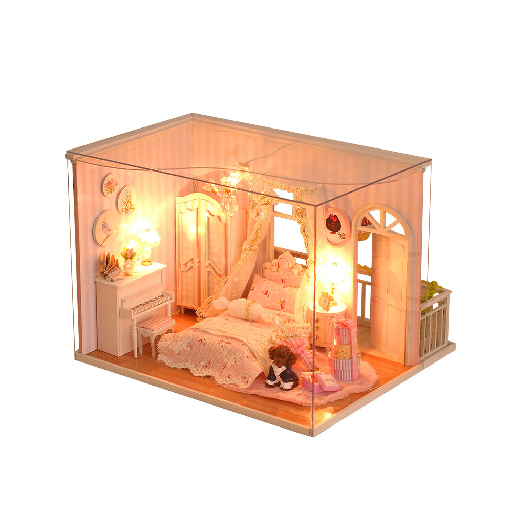 Creative House Miniature Kit DIY Dollhouse Room with Furniture LED Glass Cover Voice Control Switch Christmas Romantic Kids Gift