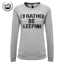 2016 women winter clothing hoodies exo tracksuit ID rather be sleeping letters printing pullover sweatshirt
