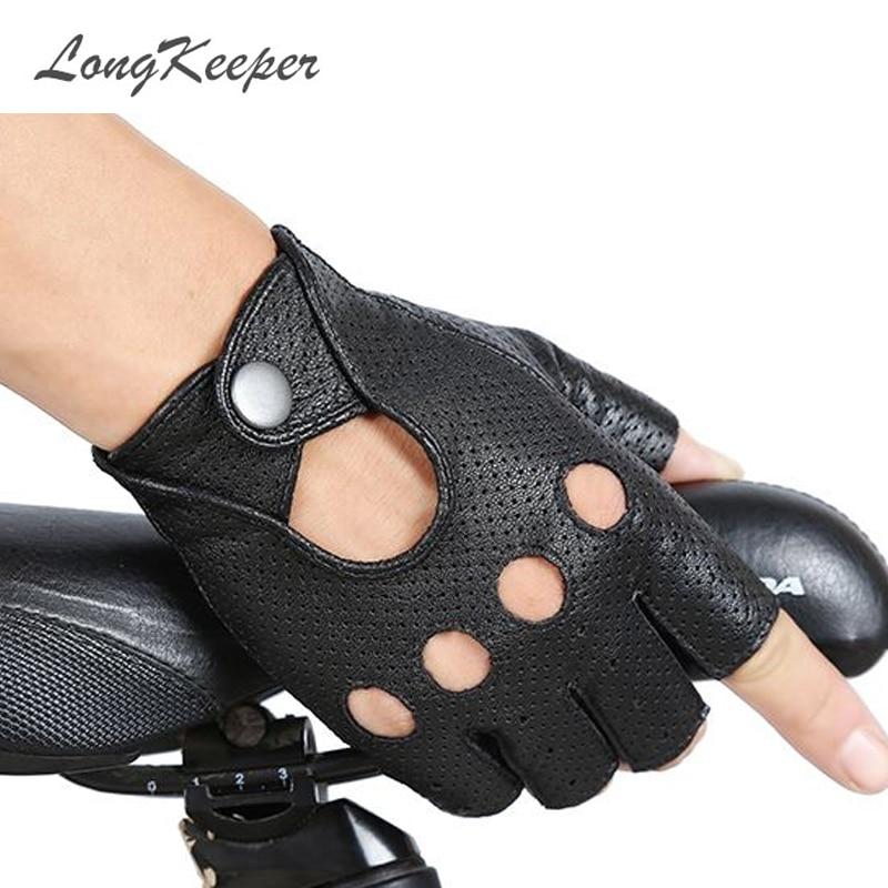LongKeeper Fashion Black PU Half Finger Driving Show Women Gloves Punk Jazz Fingerless Gloves For Women Luva Guantes G222