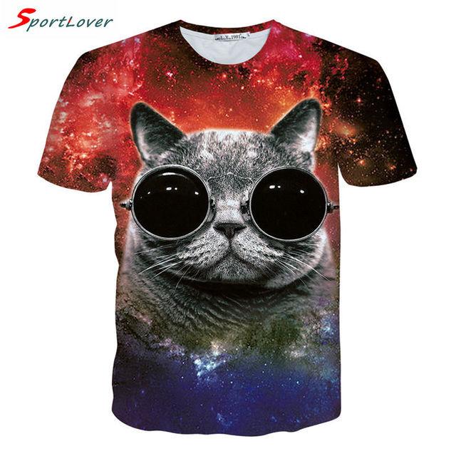 3D Galaxy Space Cat T-Shirt