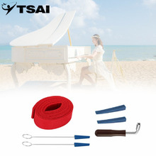 TSAI 6pc/set Professional Piano Tuning Hammer Wrench Lever Mute Kit Tools Rubber Mutes Temperament Strip Wooden Handle Tool