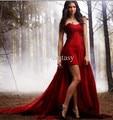 Querida Red 2016 Vampire Diaries Nina Dobrev Frisada do Querido Frisado Gótico Red Wine Chiffon Pageant Evening Vestidos MXR20