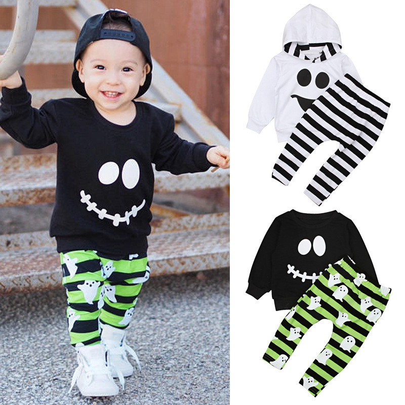 Children's European And American Spring And Autumn Boys'long Sleeve Halloween Smile Facial Expression Two Sets Of Striped Childr