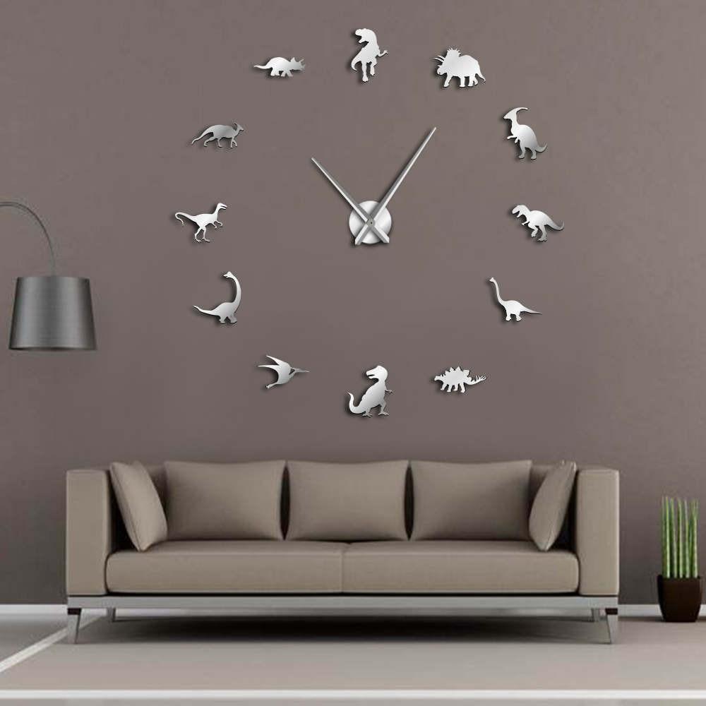 Frameless Dinosaurs Wall Clock