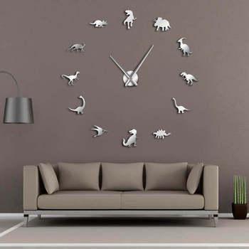 Dinosaurio jurásico, arte de pared t-rex DIY, reloj de pared grande, decoración para habitación de niños, reloj de pared gigante sin marco, reloj moderno Dino