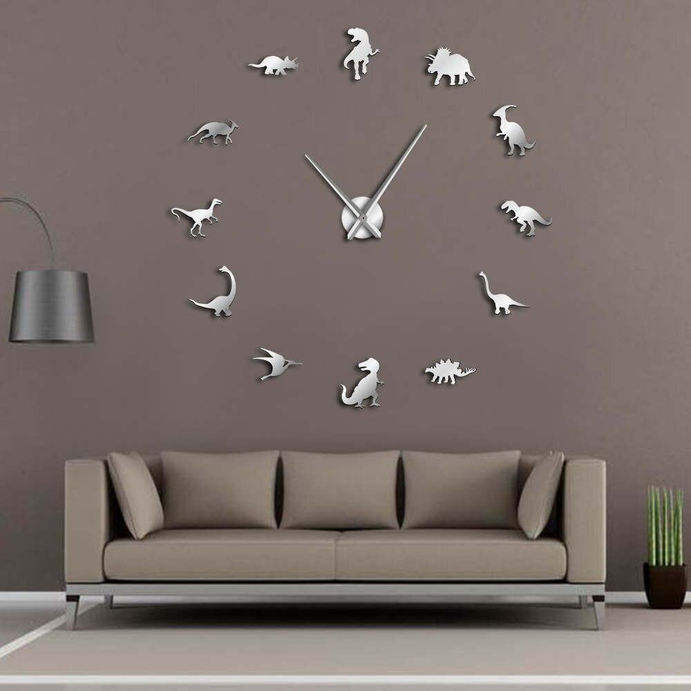 Jurassic Dinosaurier Wandkunst T-Rex DIY Große Wanduhr Kinderzimmer Dekoration Riesen Rahmenlose Wanduhr Dino Moderne uhr Uhr