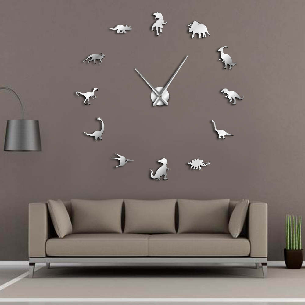 Jurassic Dinosaurs Wall Art T-Rex DIY Large Wall Clock Kids Room Decoration Giant Frameless Wall Clock Dino Modern Clock Watch
