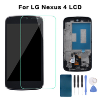 4 5 Black Full LCD Display Monitor Panel Touch Screen Digitizer Sensor Glass Assembly Frame For