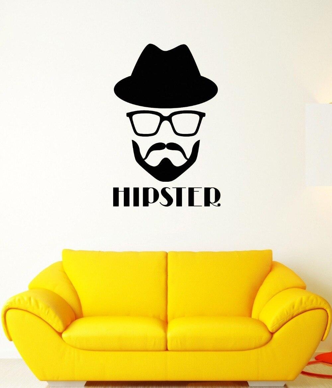 ΞPared Hipster Gafas sombrero barba cabeza moda mural vinilo ...