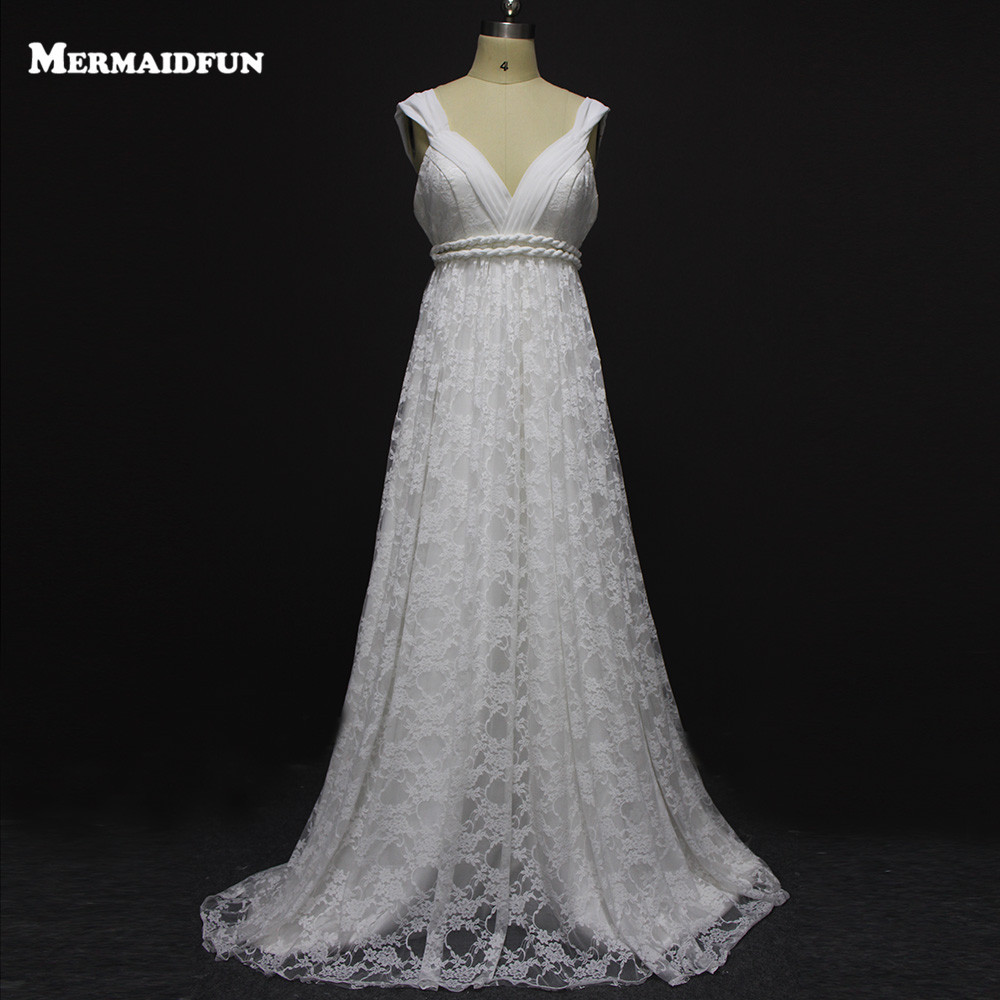 Vintage bohemian boho wedding dress sexy lace wedding gown for Lace wedding dresses plus size