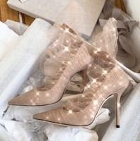 Spring New Fashion Sexy Stiletto Lace Women's Wedding High Heels Ladies Comfortable Banquet Shoes