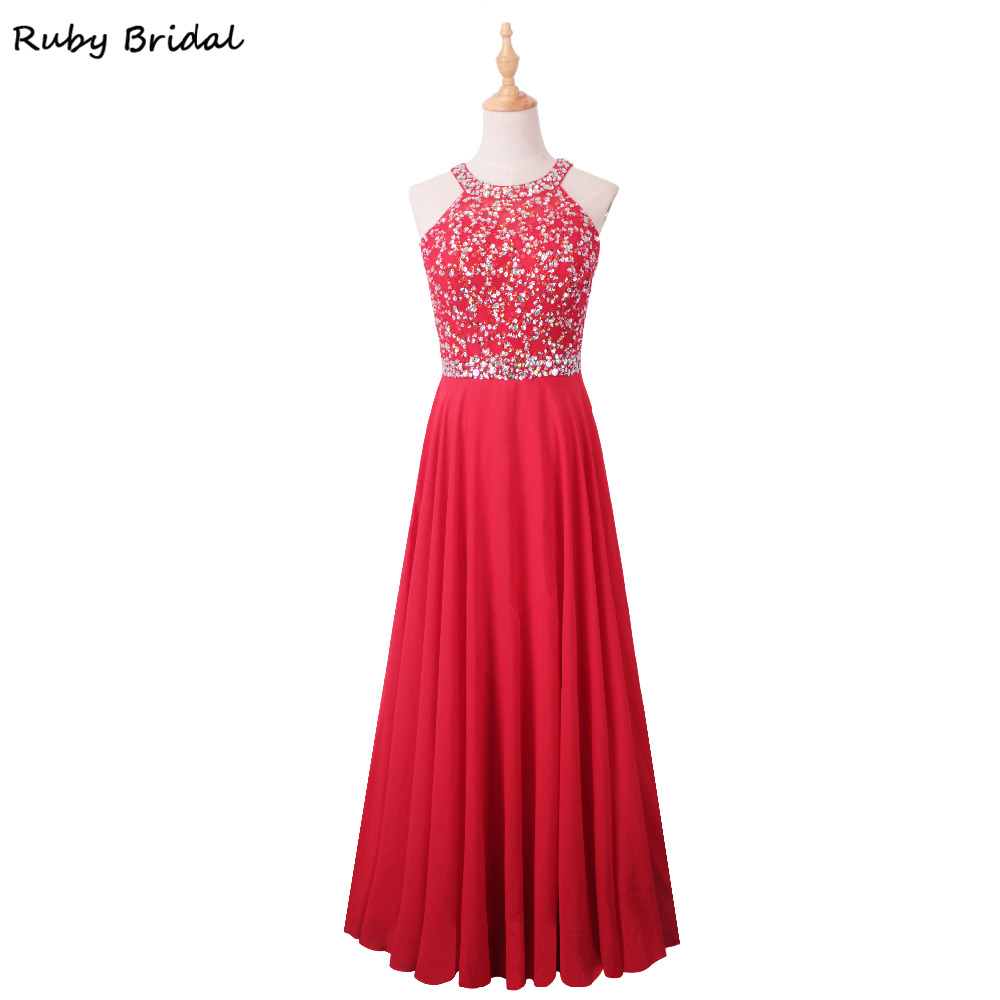 Ruby Bridal 2017 Vestido De Festa Long A line Evening Dresses Red Blue Chiffon  Beaded Cheap Back Cross Party Prom Gown KE43-in Evening Dresses from  Weddings ... 3c5fe4d30930